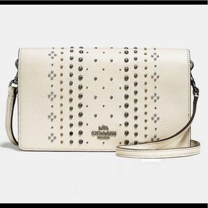 Coach Fold over Crossbody with rivets